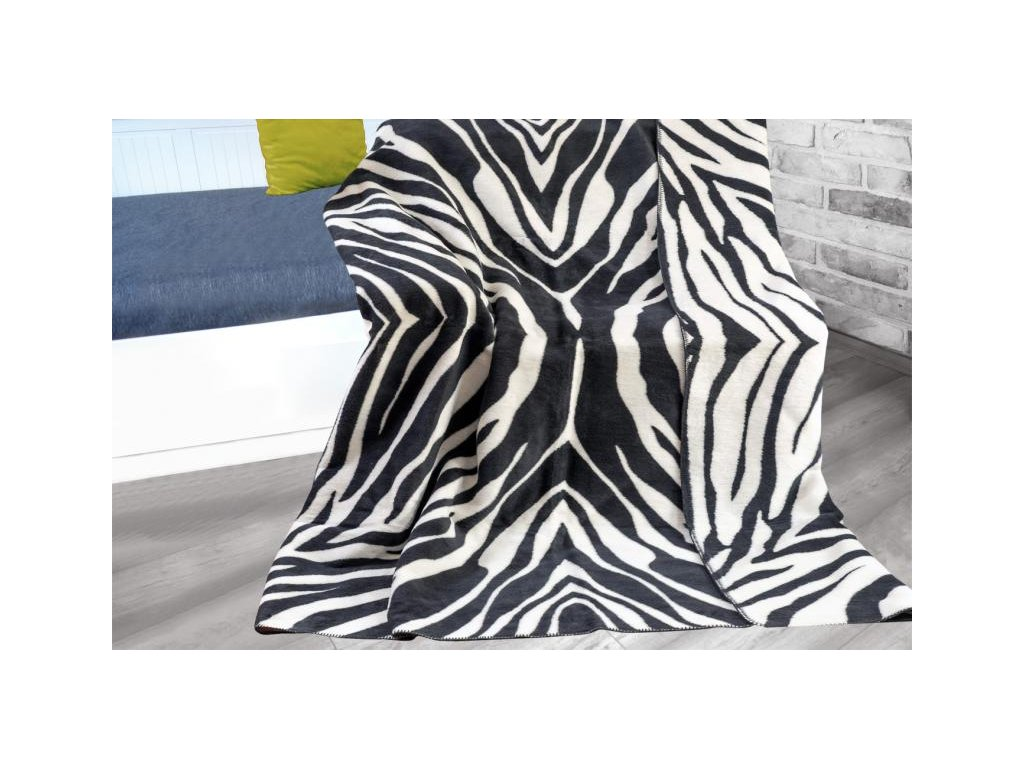 Čierno-biela bavlnená deka Zebra - 150x200cm