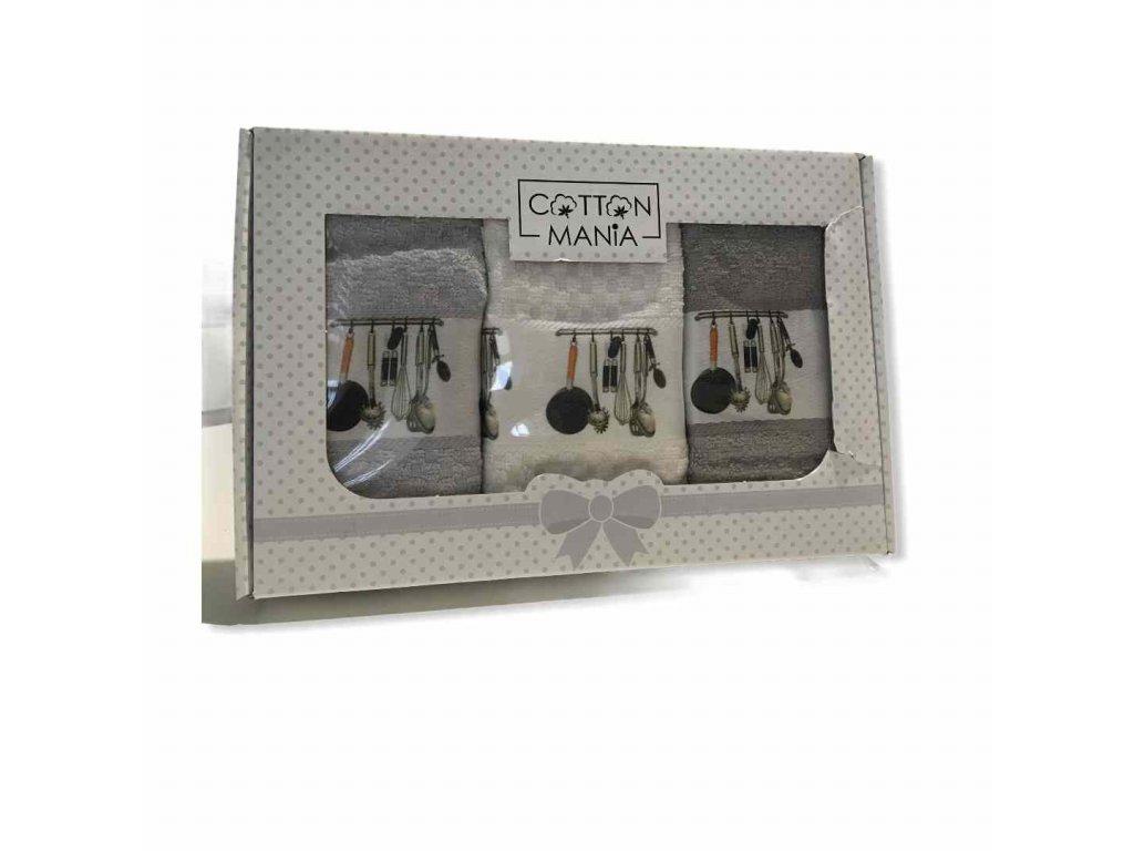 3-dielny set bavlnených utierok v sivej farbe_gabonga