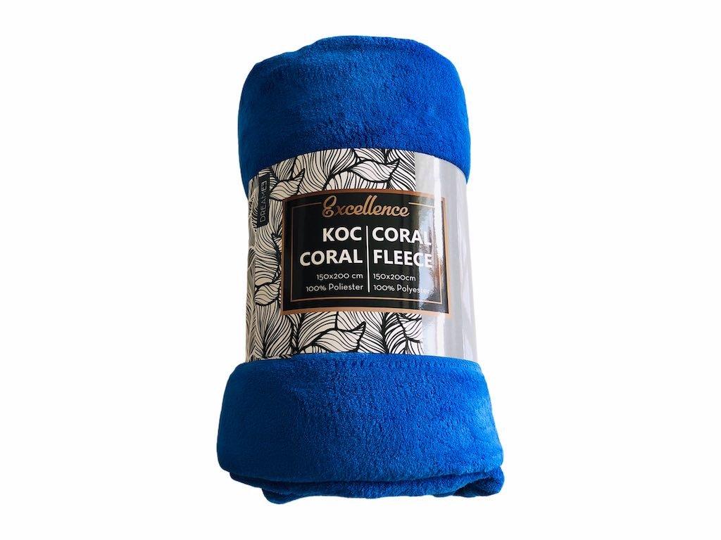 Deka Coral fleece modrá, 150x200cm