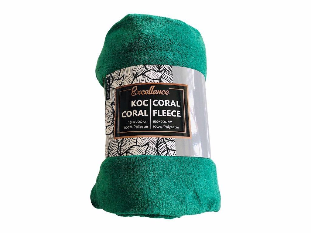 jednofarebná deka coral fleece , farba zelená