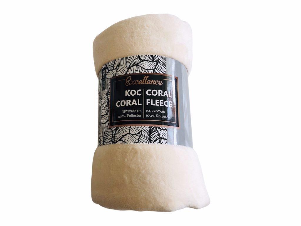 deka coral fleece, farba krémová
