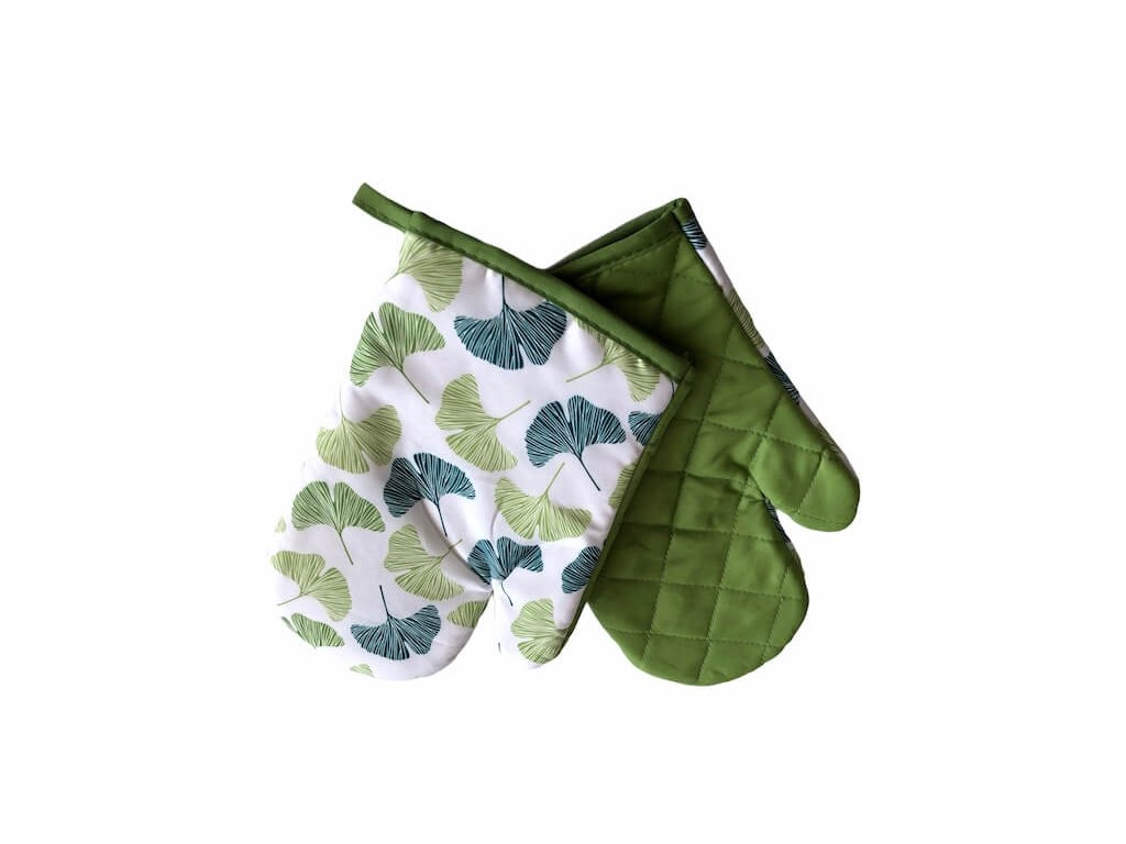 Kuchynská rukavica zelená s lístkami do kuchyne -Sada 2ks