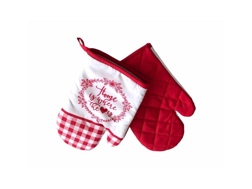 Červeno-biela rukavice do kuchyne s nápisom_Gabonga.sk
