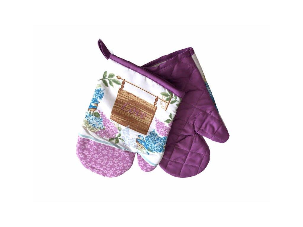 Rukavica na varenie fialova s napisom LOVE_Gabonga.sk