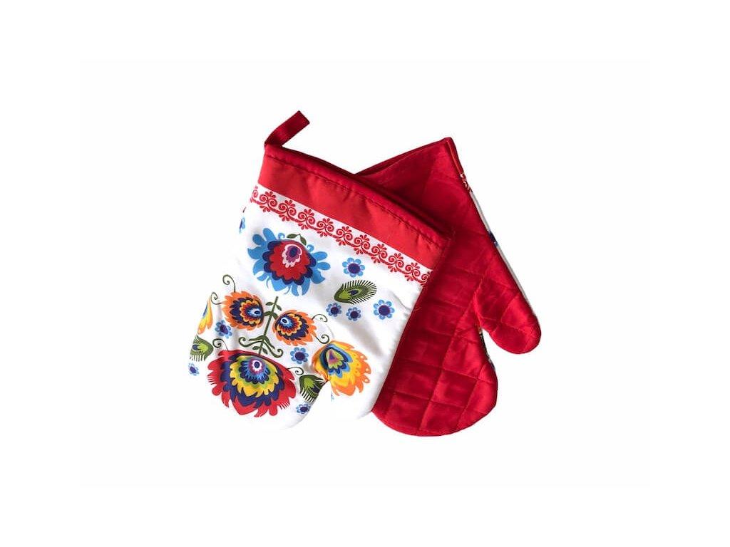 Červeno-biela rukavica na varenie do kuchyne FOLK_Gabonga.sk