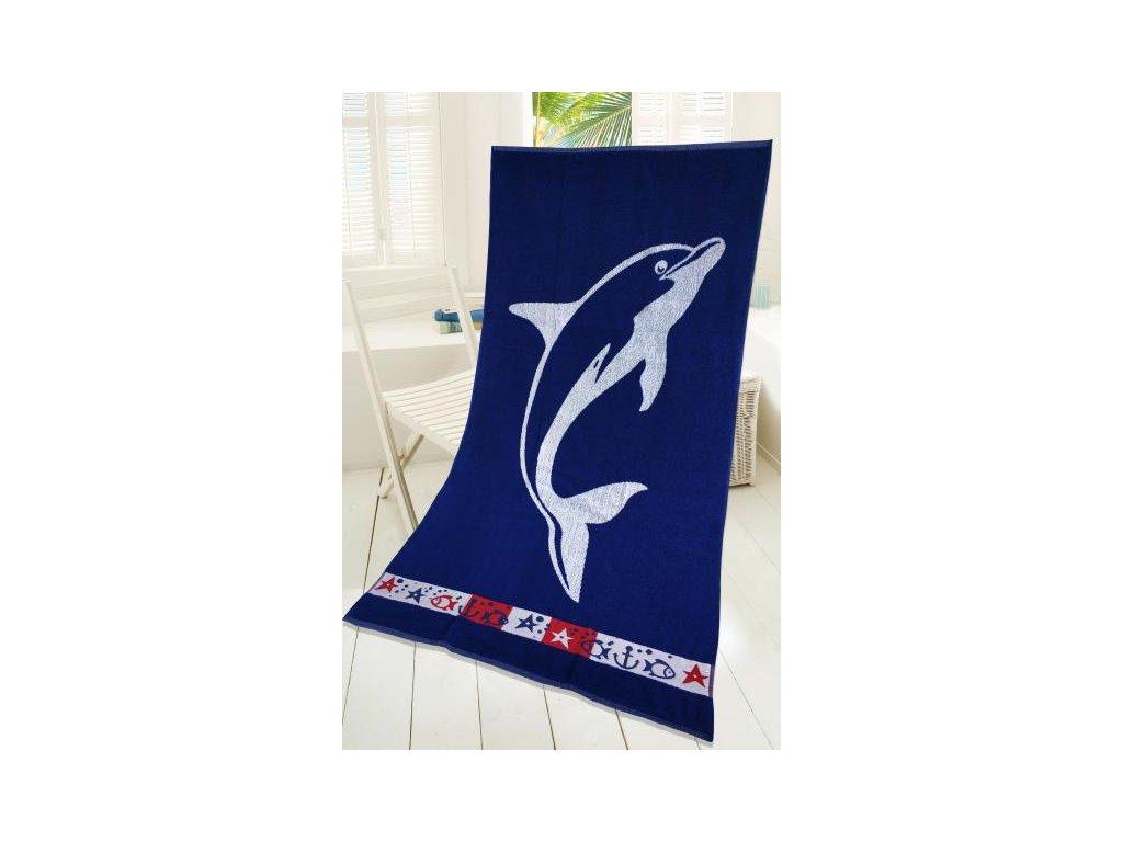 plážovová osuška Delfín modrá