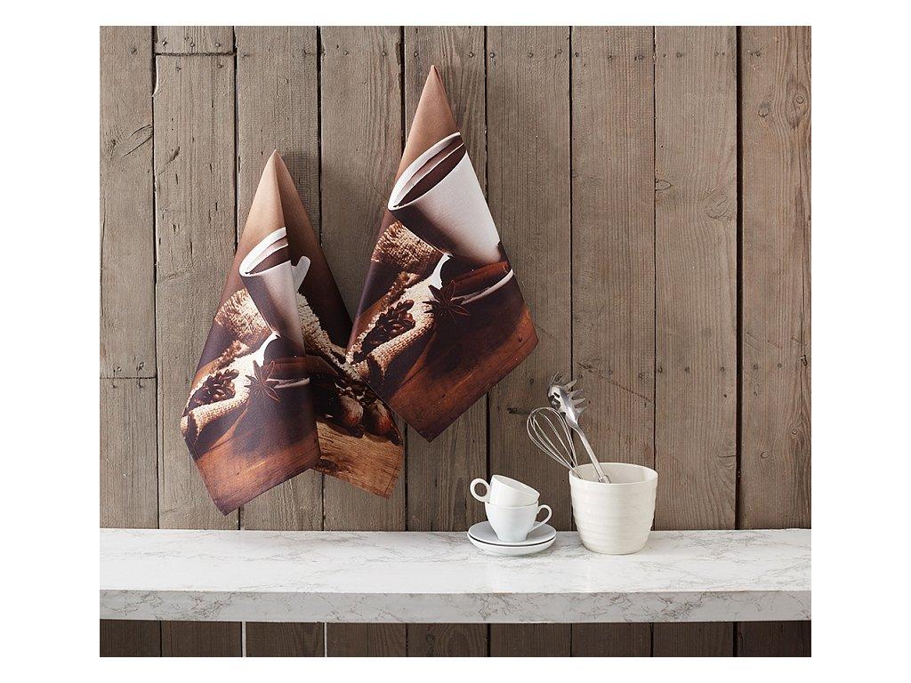 Kuchynské utierky Horká čokoláda - 2-dielna sada - 50x70cm