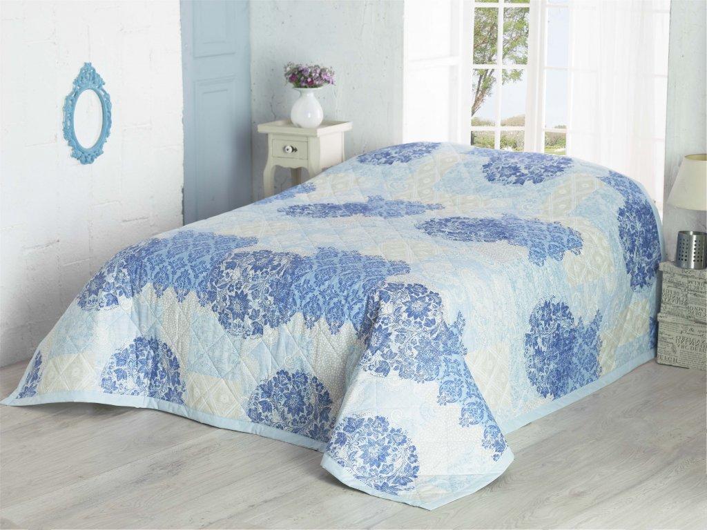 Modrý prehoz Ottorino na dvojposteľ - 220x240cm