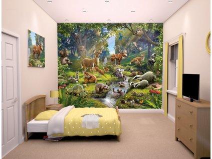 3D tapeta na stenu Zvieratá v lese - 244x305cm