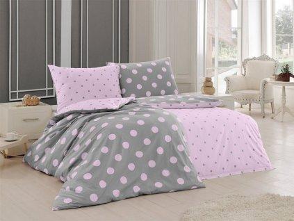 Šedo-ružové bavlnené obliečky Matějovský - Ponte Pink DeLuxe