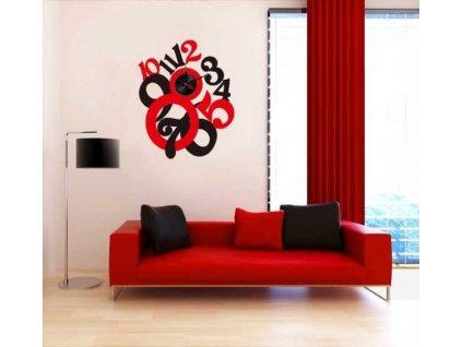 Červeno-čierne nástenné nalepovacie hodiny Decor