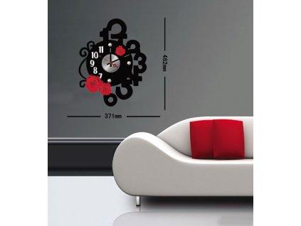 Čierno-červené nástenné nalepovacie hodiny Decor