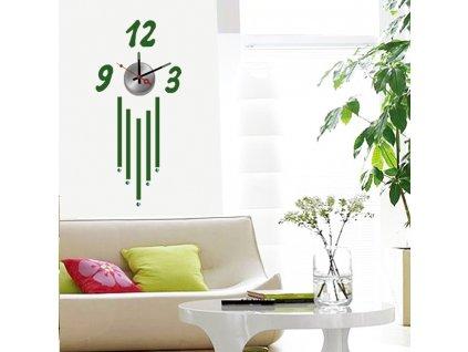 Moderné zelené nástenné nalepovacie hodiny Decor