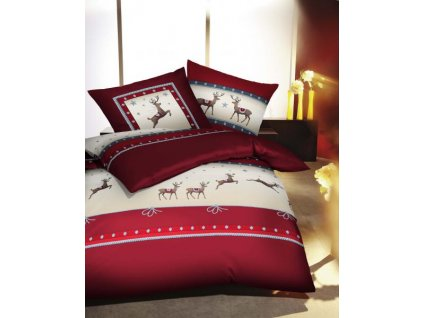 Útulné vianočné obliečky Pracing Deer Karmin
