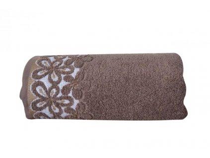 Hnedý uterák s bordúrou Bella - 50x90cm