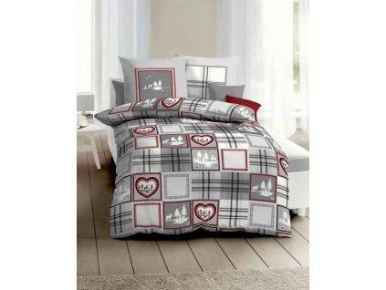 posteľné Vianočné flanelové obliečky Tradition grey