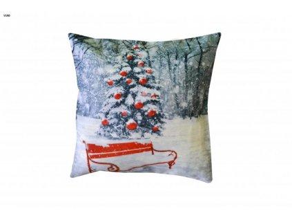 Sivá vianočná obliečka so stromčekom - 40x40cm