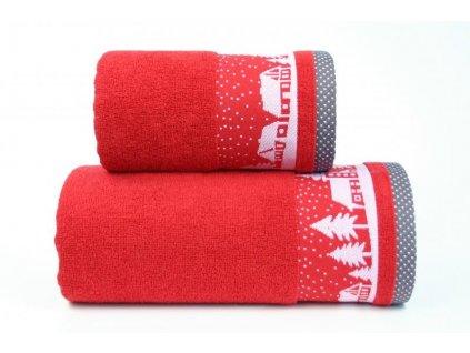 Červený vianočný uterák Sweet Dreams - 50x90cm