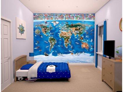 3D tapeta na stenu Mapa sveta - 244x305cm