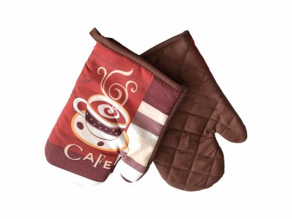 Hnedo-červené rukavice do kuchyne na varenie so šálkou kávy_Gabonga.sk