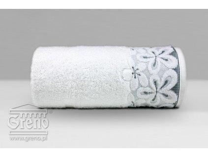 Biely uteráčik s kvetinovou bordúrou Bella - 30x50cm