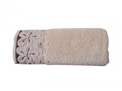 Béžový uterák s bordúrou Bella - 50x90cm