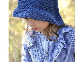Klobouček ze lnu a bavlny...modrý