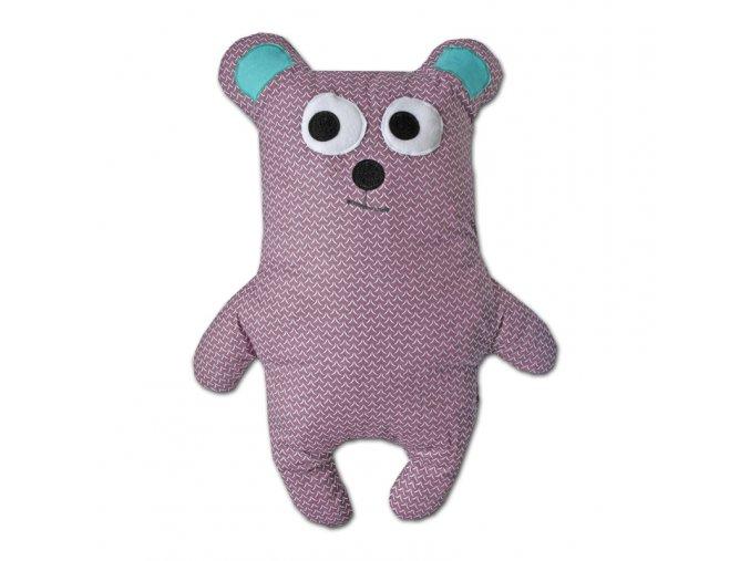 GADEO dětský polštář Medvídek fialový, 70cm
