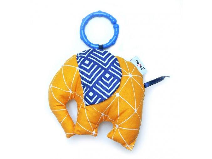 Gadeo závěsná dekorace/hračka Slon žlutý