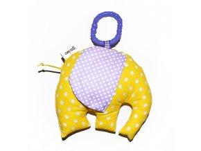 Gadeo závěsná dekorace/hračka Slon žluto-fialový