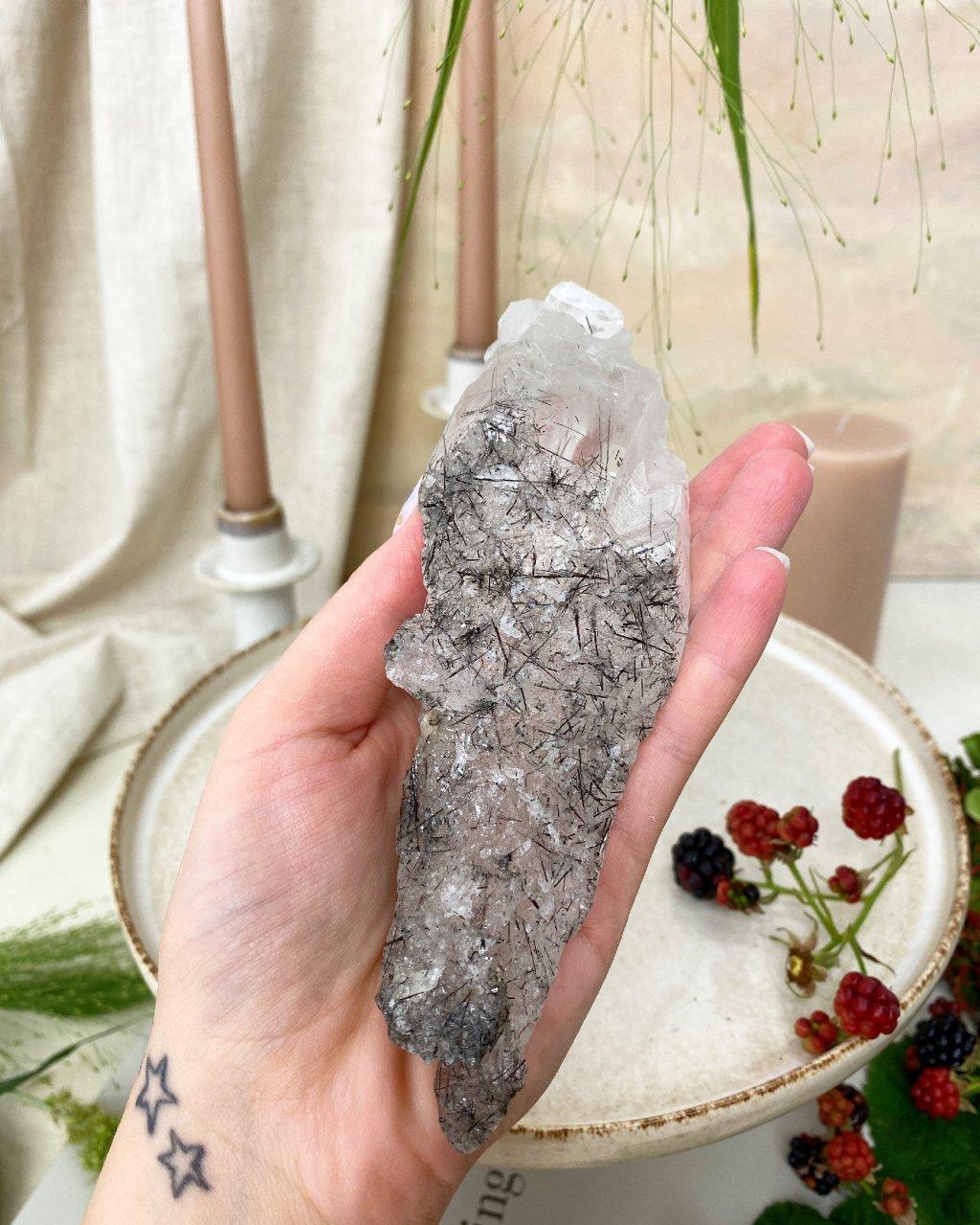 Křišťál s turmalínem broušený krystal 13cm Brazílie TOP!