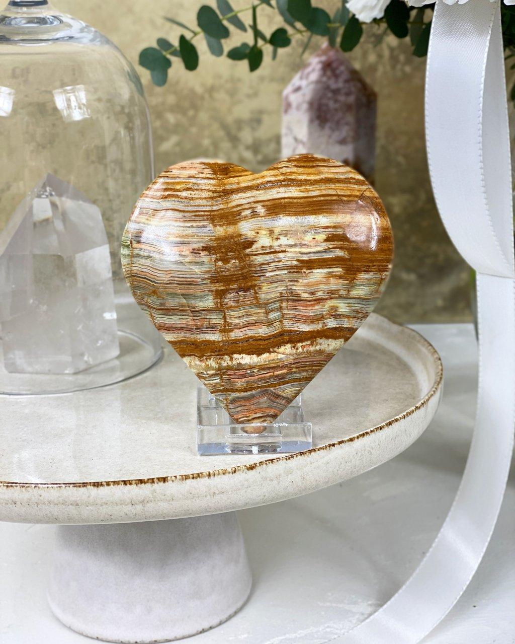 Broušené kamenné srdíčko velké 11cm onyx Pákistán