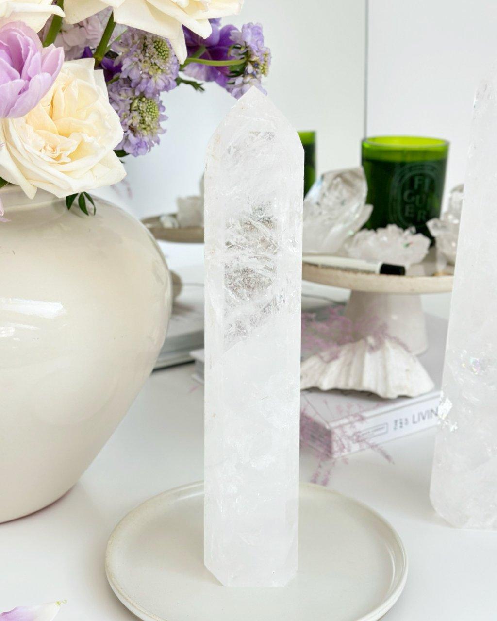 Křišťálové krystaly broušené špice 18cm Madagaskar AAA