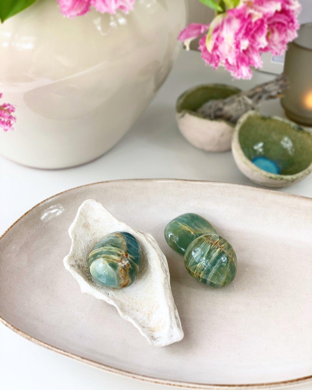 Modrý kalcit dekorační kamenná koule