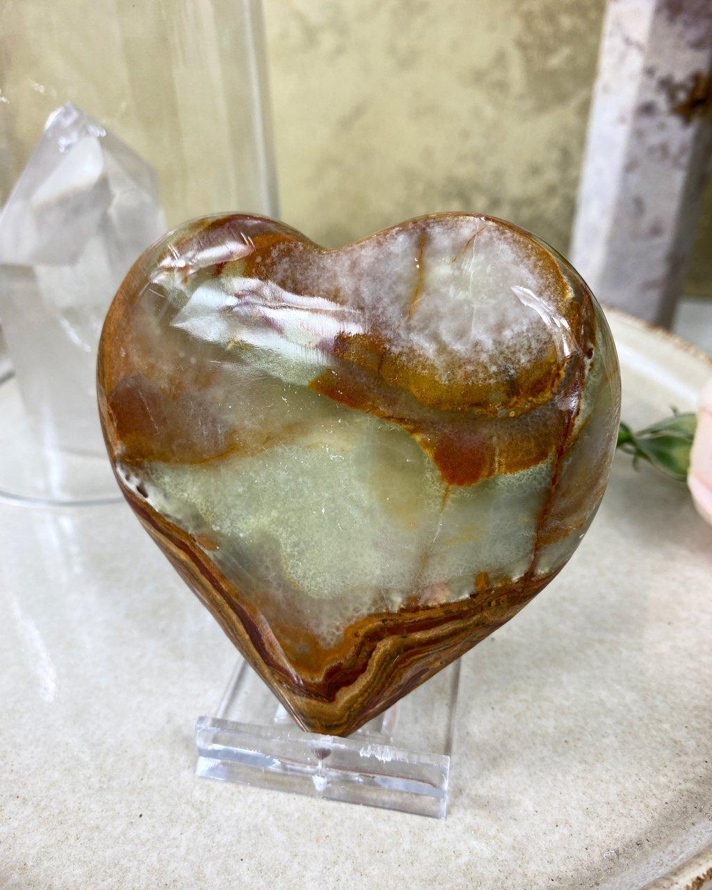 Broušené kamenné srdce střední 9cm onyx Pákistán