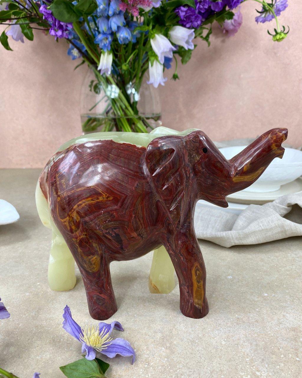 Broušená figurka onyx slon velký 20cm Pákistán