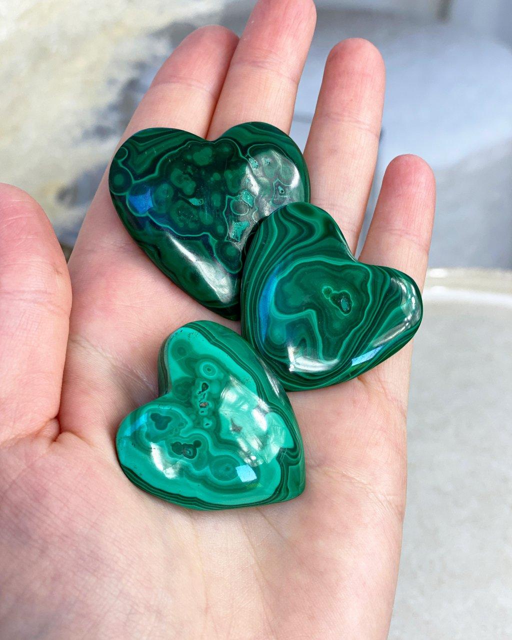 Srdce z malachitu leštěné Kongo 3cm