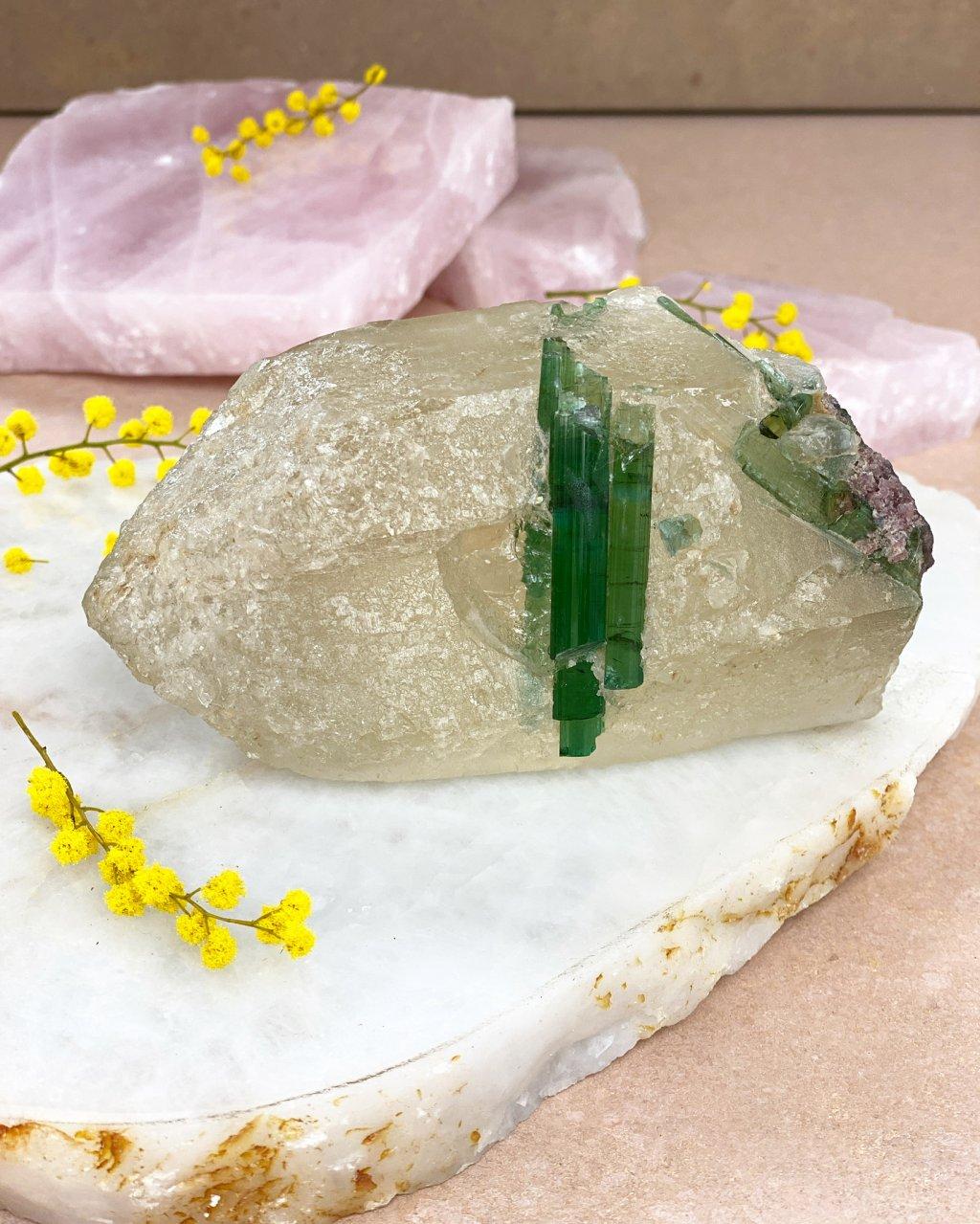 Luxusní krystal citrínu a turmalínu surová srostlice Brazílie 806g