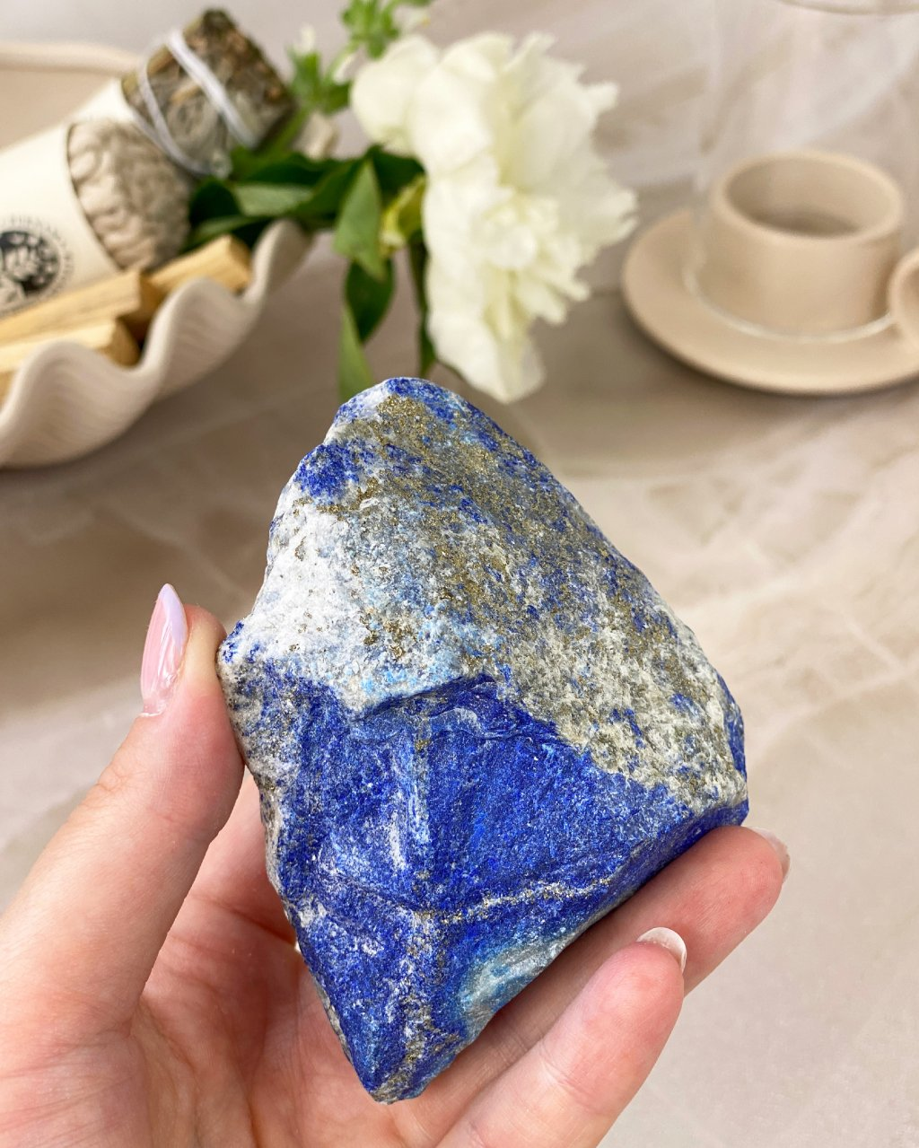 Luxusní lapis lazuli s pyritem surový AAA 96g