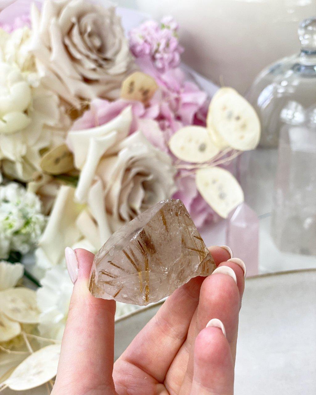 Krystal záhnědy a sagenitu Brazílie 66g