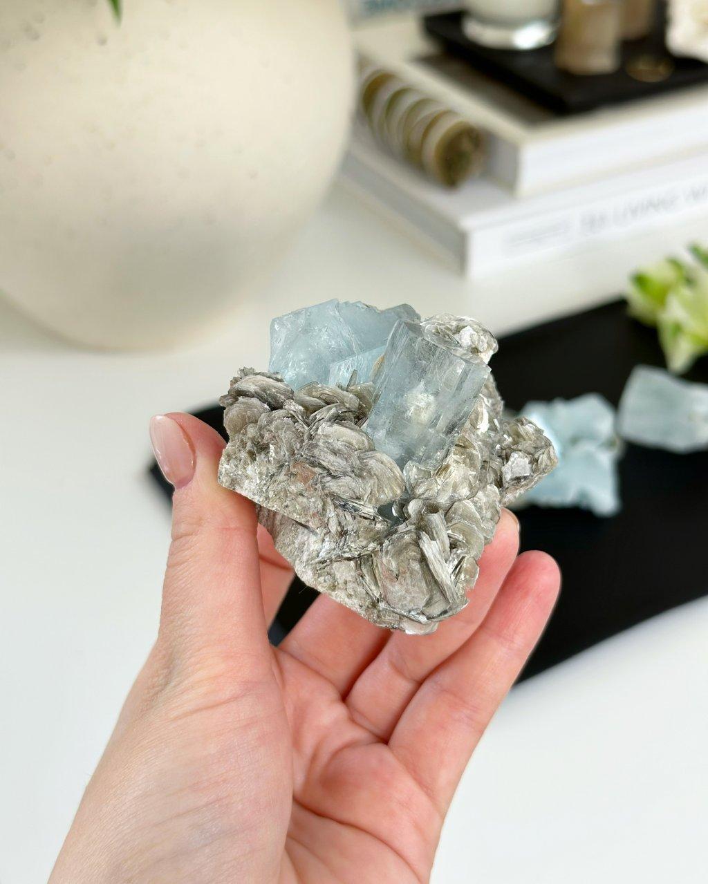 Akvamarín muskovit drúza krystalů Pákistán 433 g