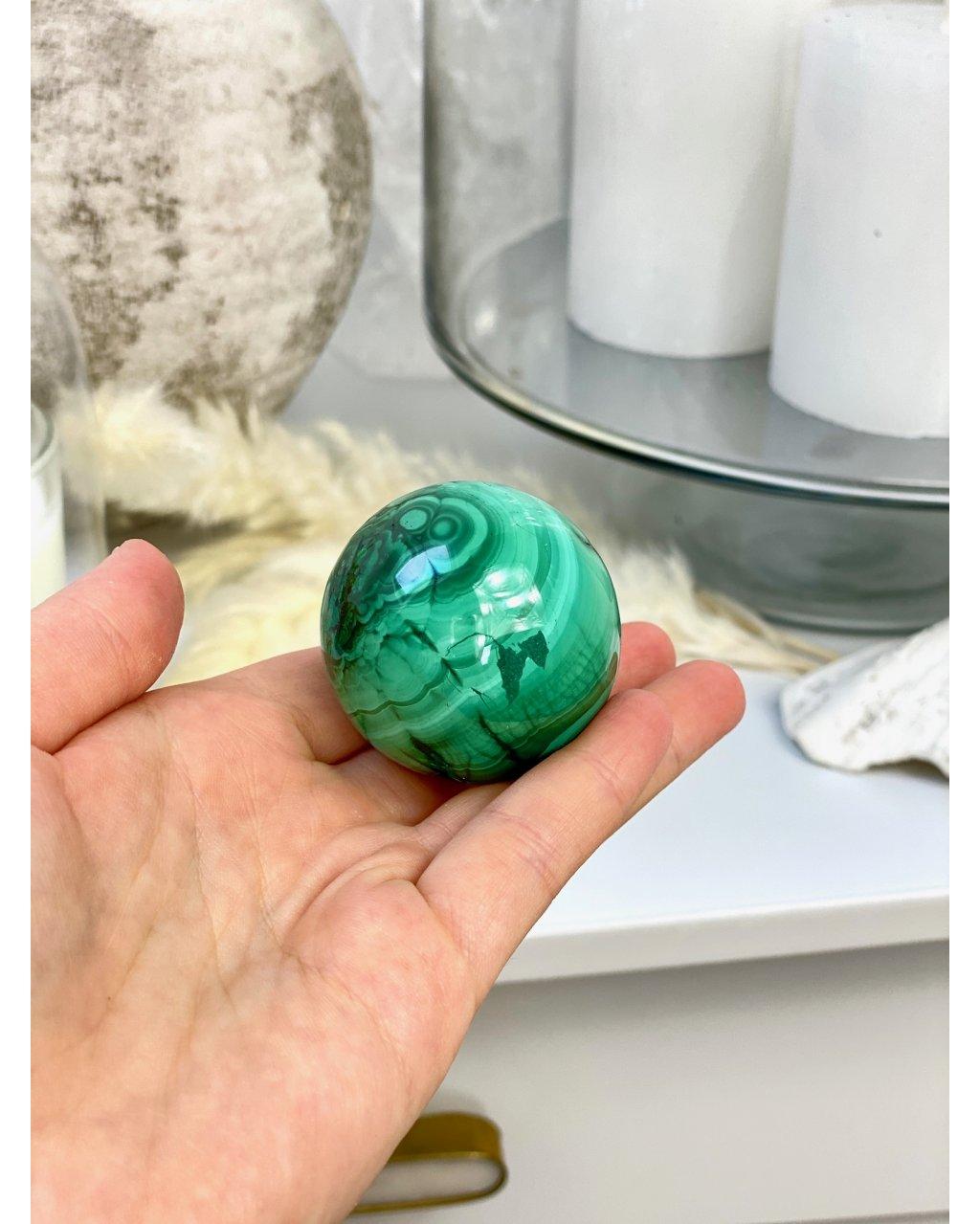 Kamenná koule z malachitu leštěná 4,5cm Kongo 201g