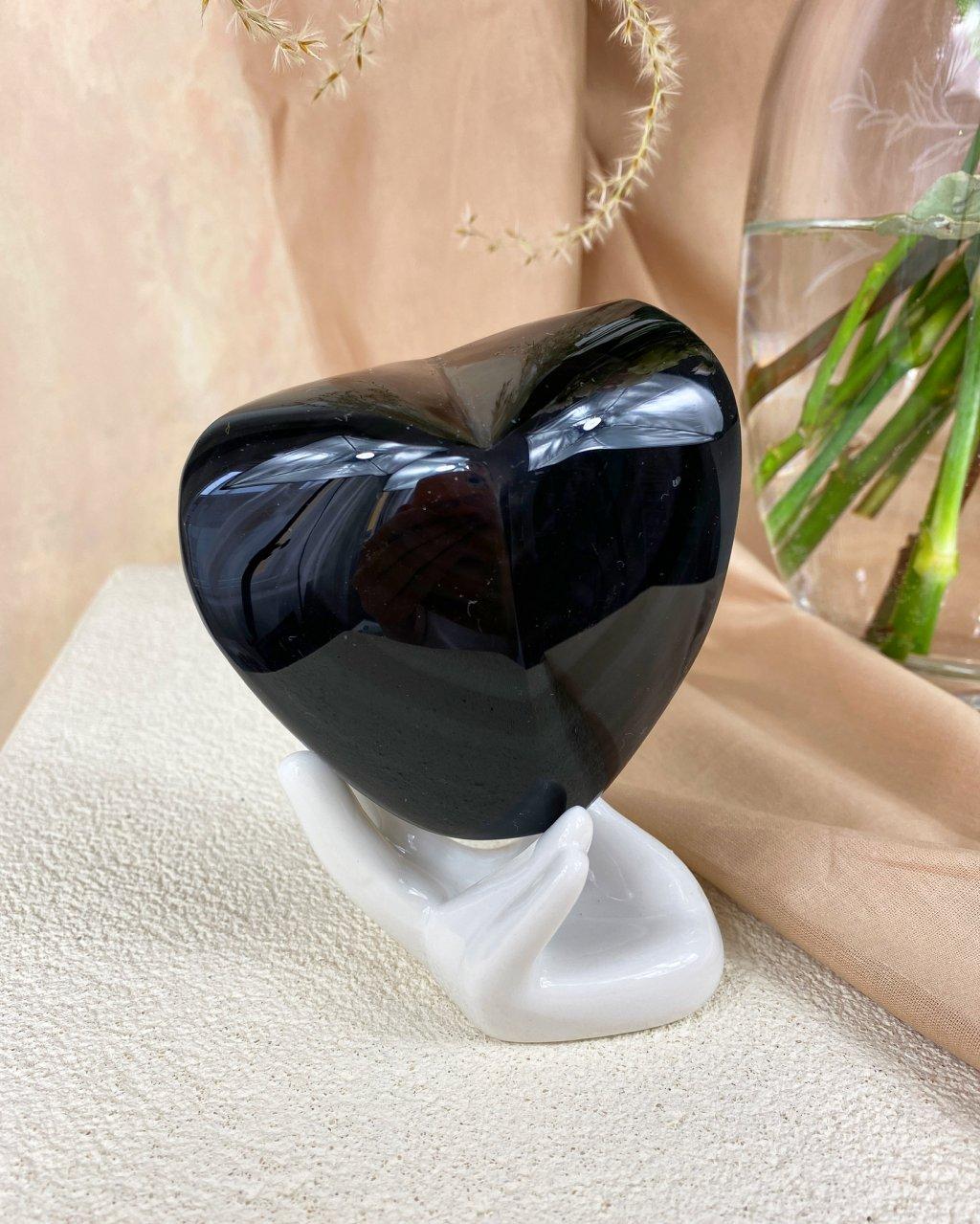 Drahý kámen duhový obsidián srdce Mexiko 379g