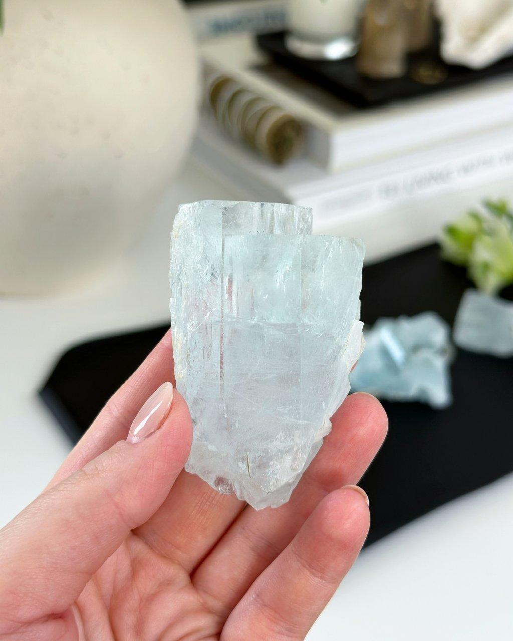 Akvamarín surový čirý krystal AAA Pákistán 23g