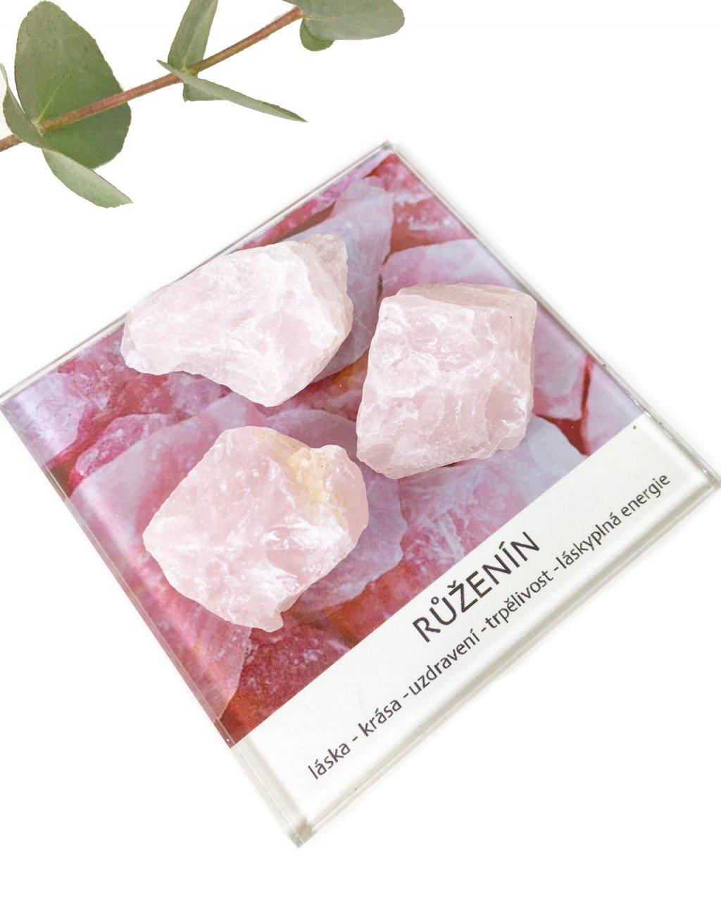 Růženín surový kámen dekorační set