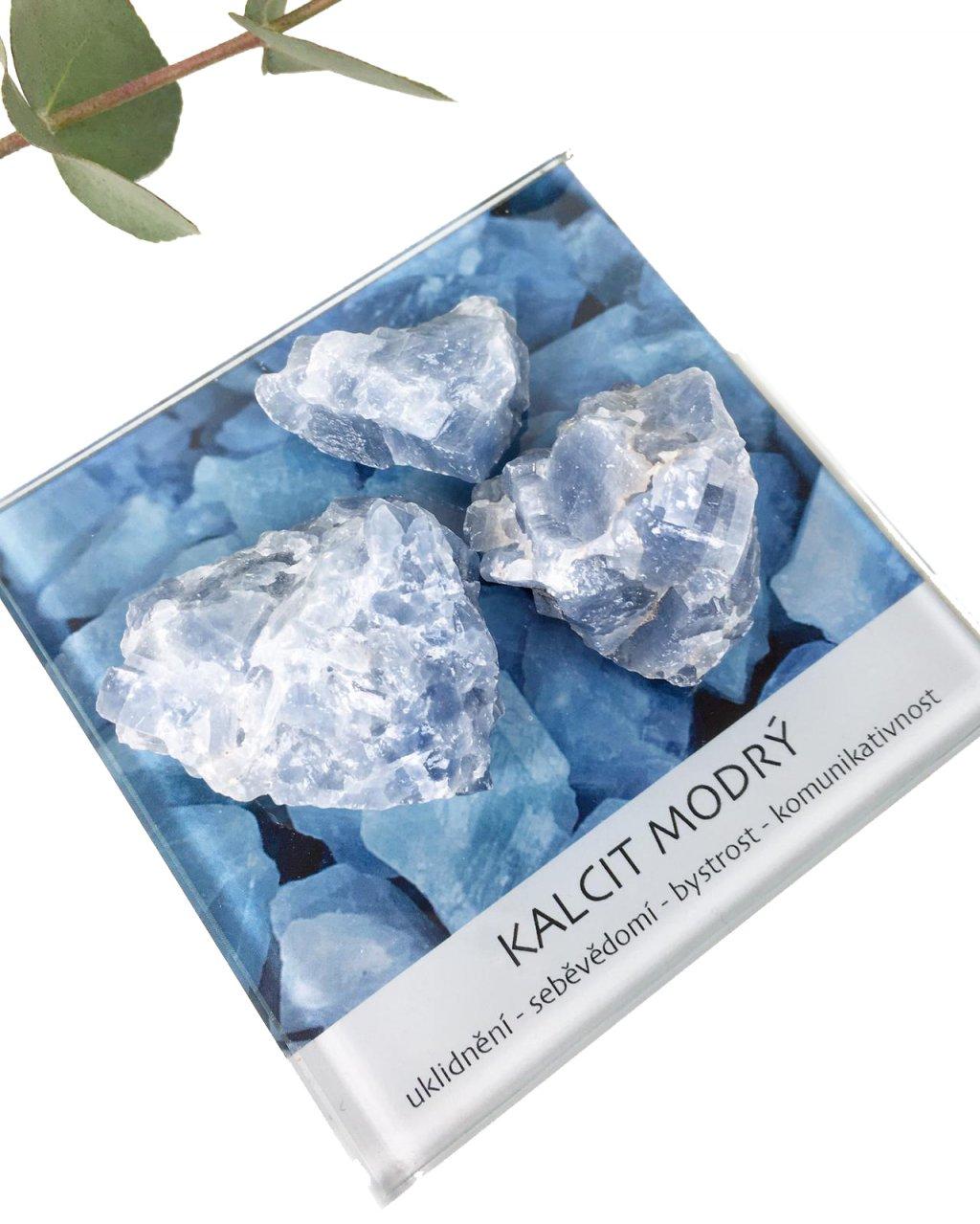 Modrý kalcit surový minerál dekorační set