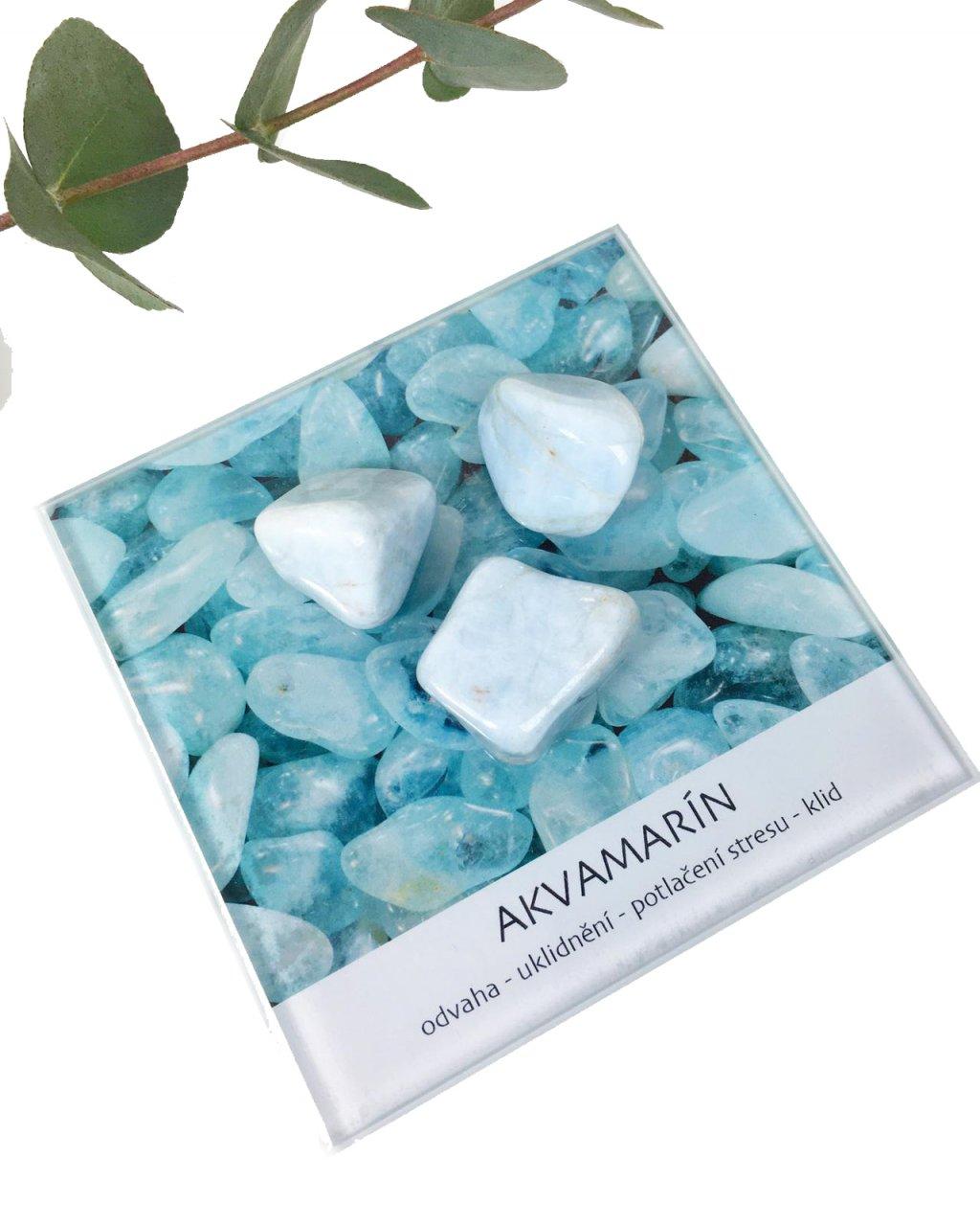 Akvamarín kámen minerál dekorační set