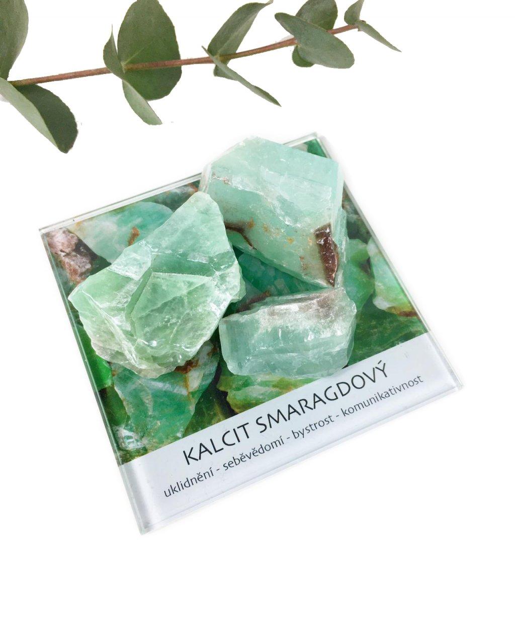 Kalcit smaragdový surový minerál dekorační set