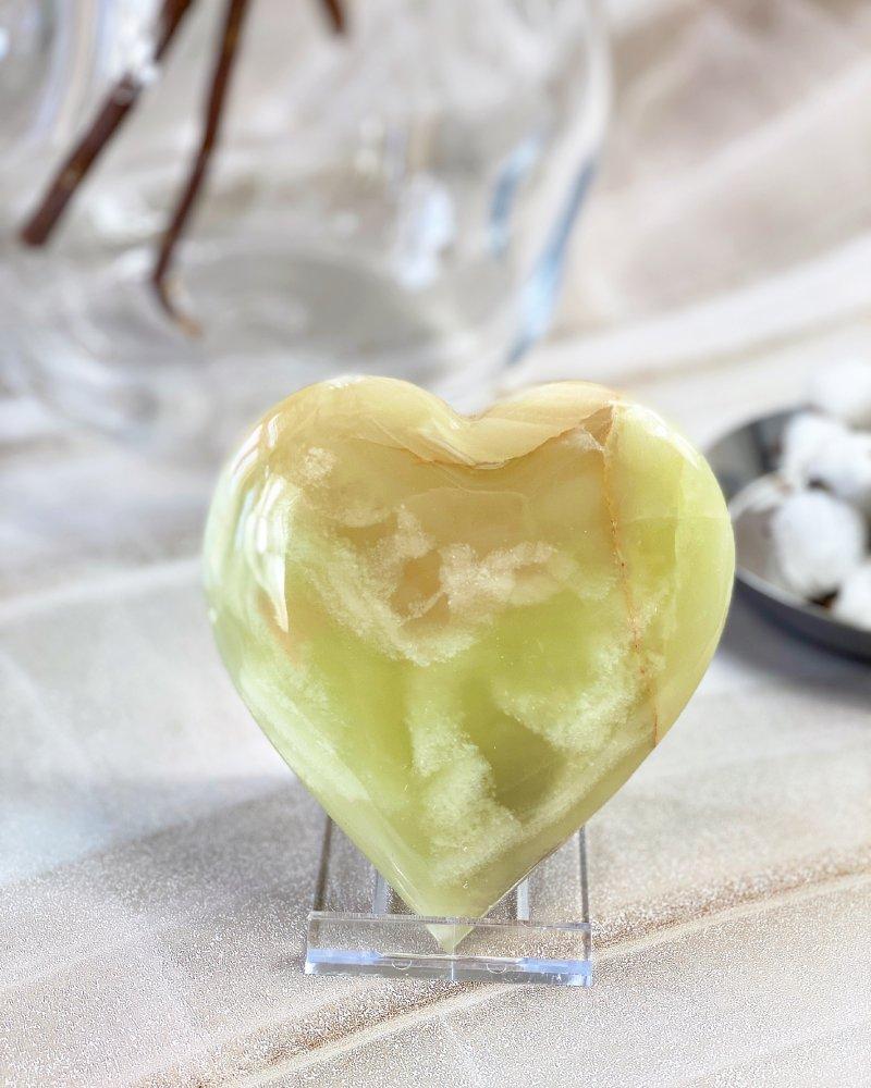 Broušené kamenné srdce onyx velké 11cm Pákistán