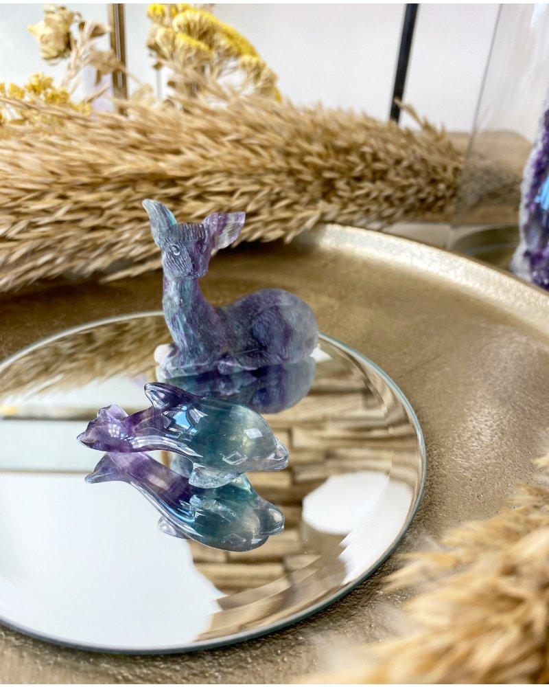Fluorit figurka delfín broušený leštěný
